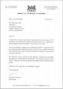 EMBASSY OF THE REPUBLIC OF BOTSWANA